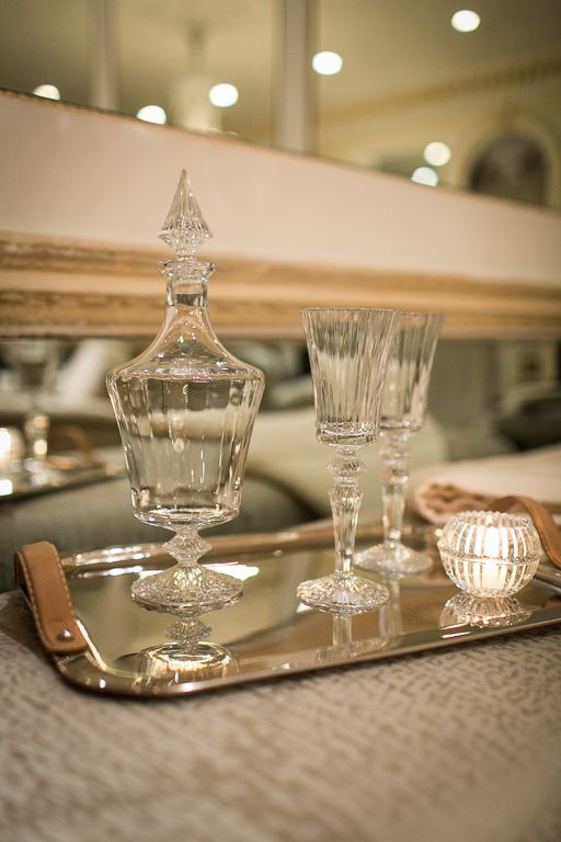 Baccarat Mille Nuits Decanter Wine Glasses And Votive