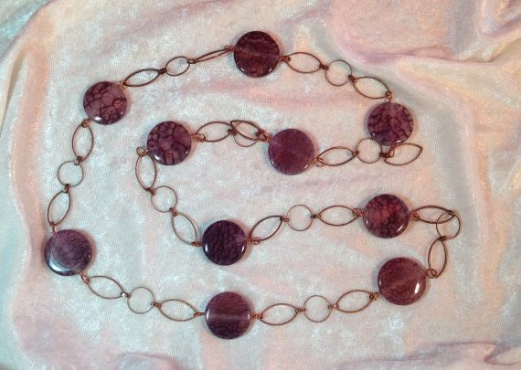 Necklace Chain of Copper Plated Brass (round and marquise) with faux amethyst disc beads @SunberryCreations