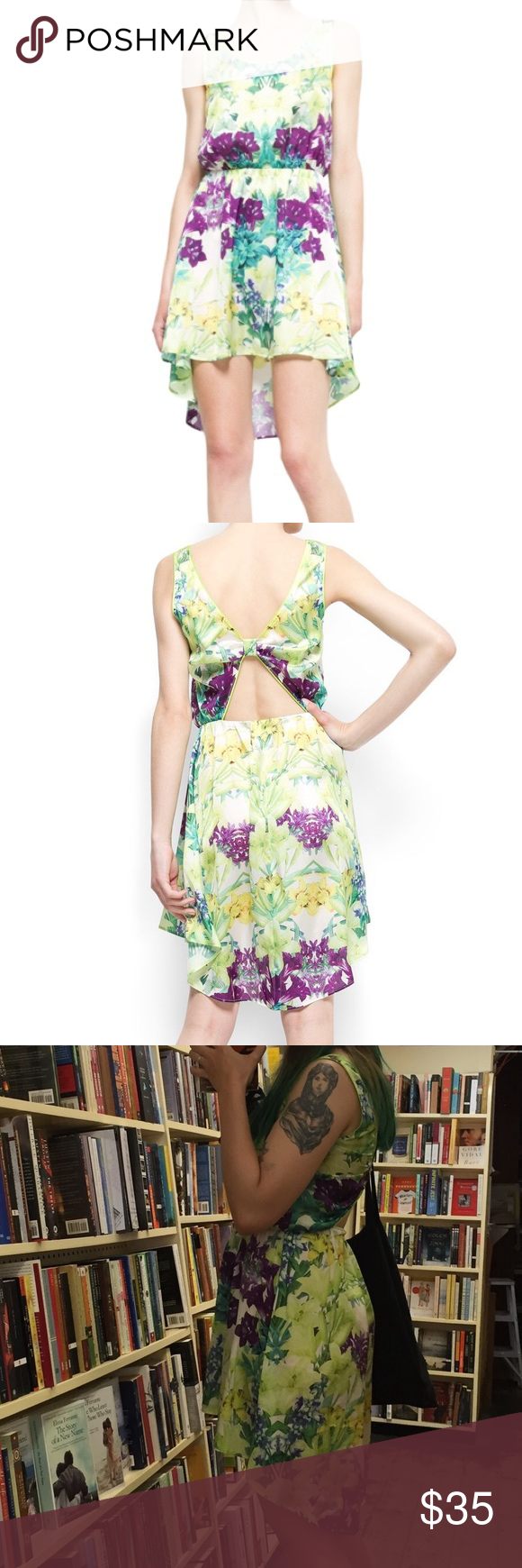 Mango Floral Print Tail Hem Dress, Green Multi Lovely summer dress in great condition, I wore it twice only. This casual Mango dress is perfect for lazy summer days. It has a relaxed shape with a round neckline, wide shoulder straps and a bold floral print design, as well as a tail back hem and elastic waistband. Material: 100% viscose; Sleeveless; Washing Instructions: Machine washable. Mango Dresses Asymmetrical