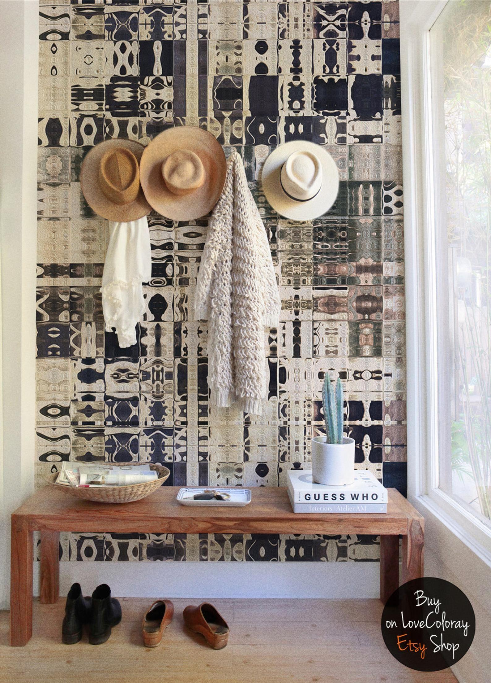 Boho Wall Mural Boho Style Removable Wallpaper Tiles Etsy Wall Murals Wallpaper And Tiles Boho Wallpaper