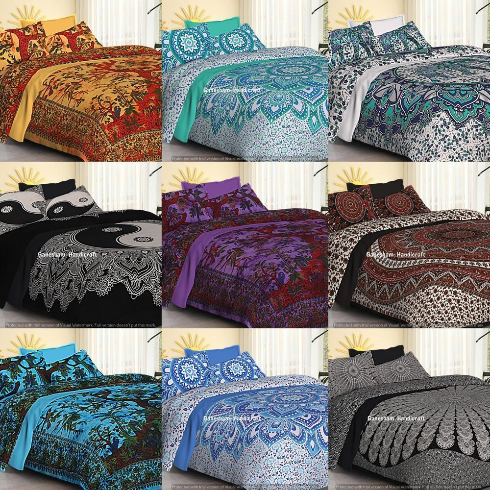 Boho Queen Quilt Comforter Cover Bohemian Bedding Set Indian Mandala Duvet Cover