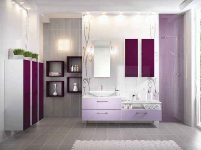 20 Salles De Bains Colorees Elle Decoration Salle De Bain Coloree Salle De Bain Violet Decoration Salle De Bain