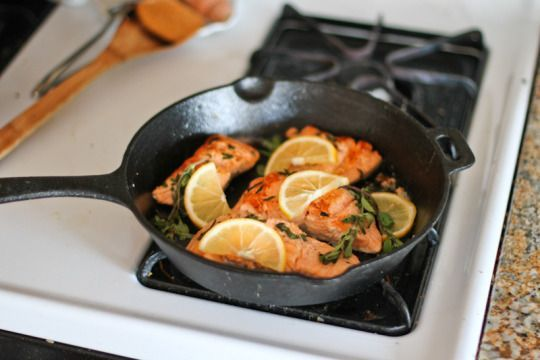 Cast Iron Skillet Seared Salmon with Marjoram #searedsalmonrecipes frites & fries — Cast Iron Skillet Seared Salmon with Marjoram #searedsalmonrecipes