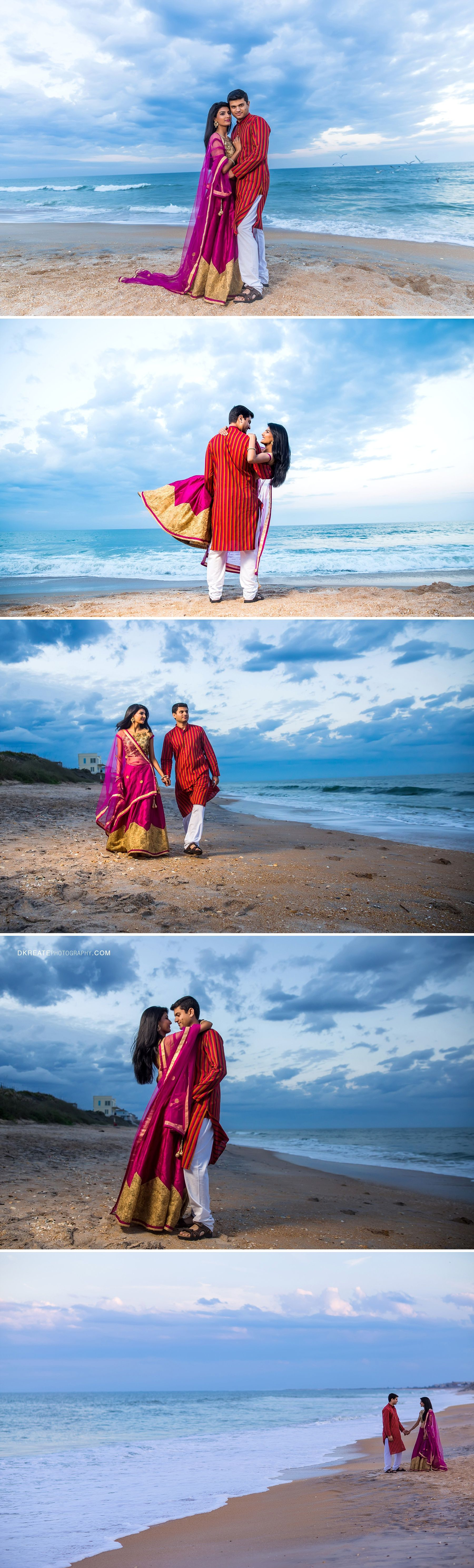 Beach wedding pre shoot  Jacksonville Engagement Photography  Classy colorful traditional