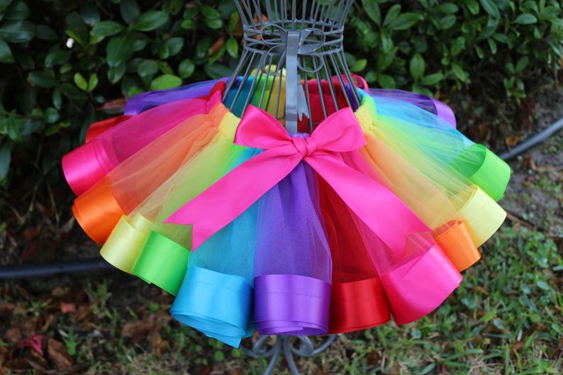Rainbow Baby Tutu Birthday Girl skirt- Bright Colorful ...