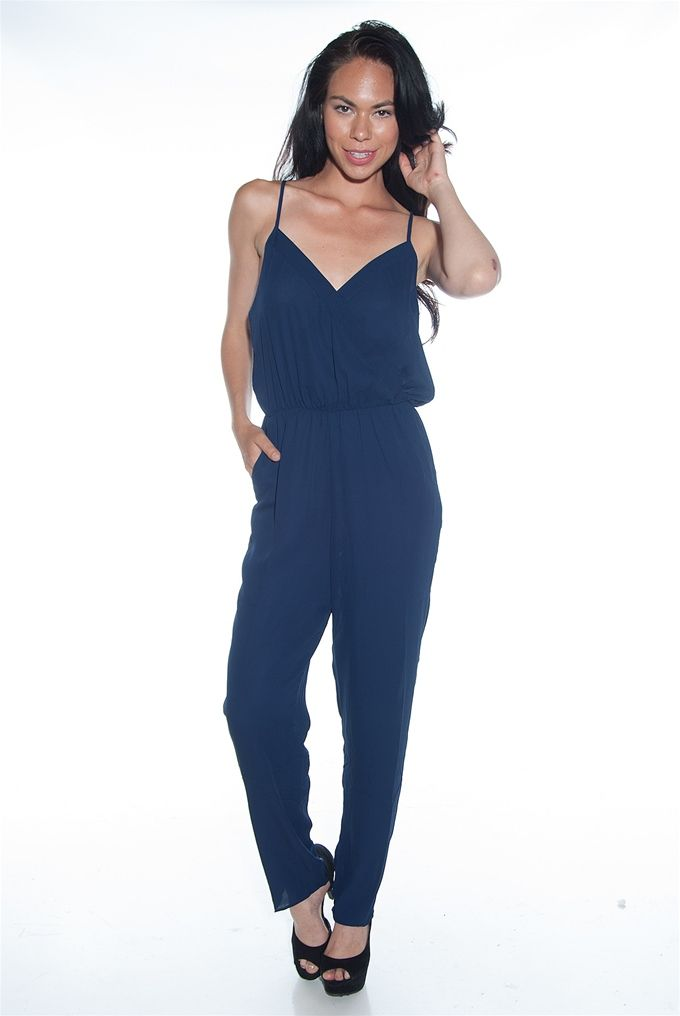 That is a Wrap Spaghetti Strap Wrap Front Jumpsuit - Navy from The Timing Inc at Lucky 21