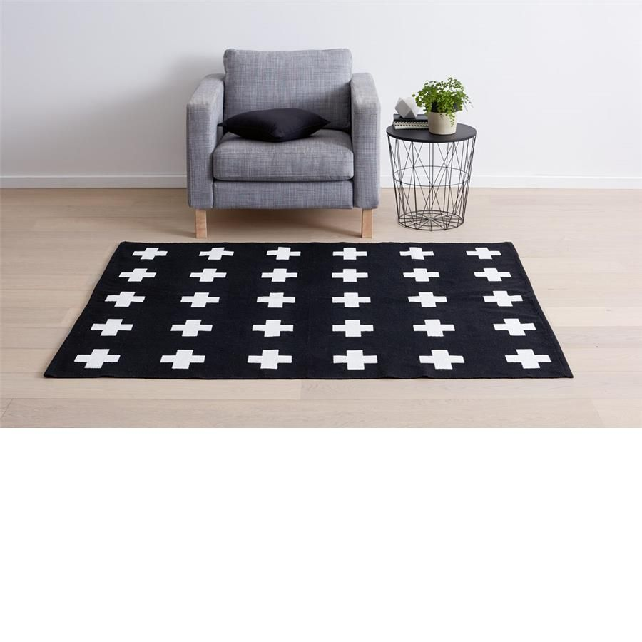 Rubber floor mats kmart - Cross Print Rug Black White Kmart