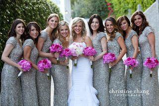 Grey bridesmaid dresses pink flowers bride has lighter colored grey bridesmaid dresses pink flowers bride has lighter colored bouquet i like this look mightylinksfo
