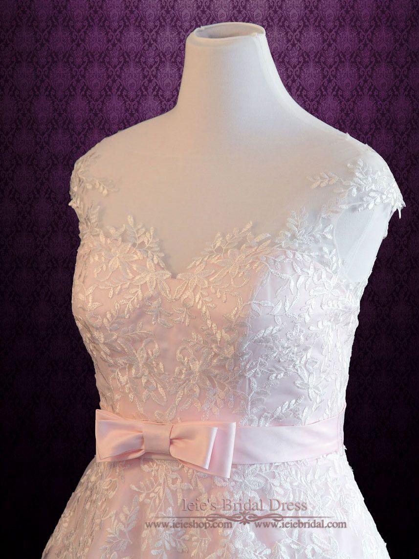 Plus Size Frosty Pink Tea Length Lace Wedding Dress   Sabrina ...