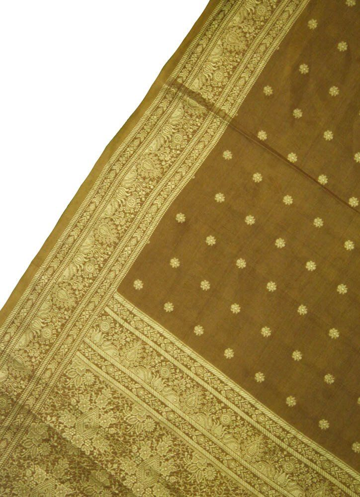 Decorative Indian Vintage Pure Silk Sari Brown Floral Printed Fabric Up-cycled Fabric Traditional Silk Saree 5 YD PSS1384