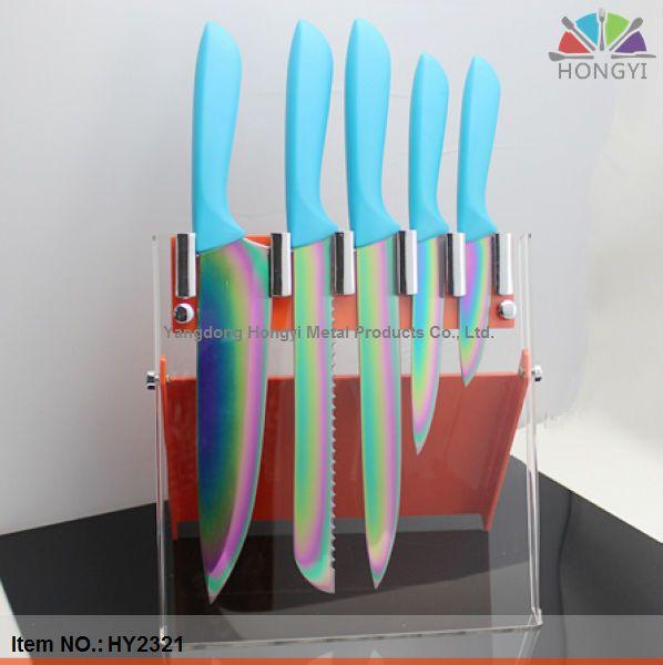 Kitchen Knives Sets White Tile Knife Set 1 Titanium 2 Rainbow 3 With Acrylic Stand Ensure Compliance Fda And Lfgb