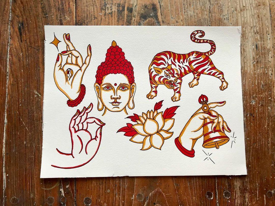 "avihiṃsā tattoo on Instagram: ""#traditionaltattooflash #tattooflash #tibetanbuddhism #traditional #tradtattoo #tattoo #traditionaltattoo #tattooartist #tattoomagazine…"""