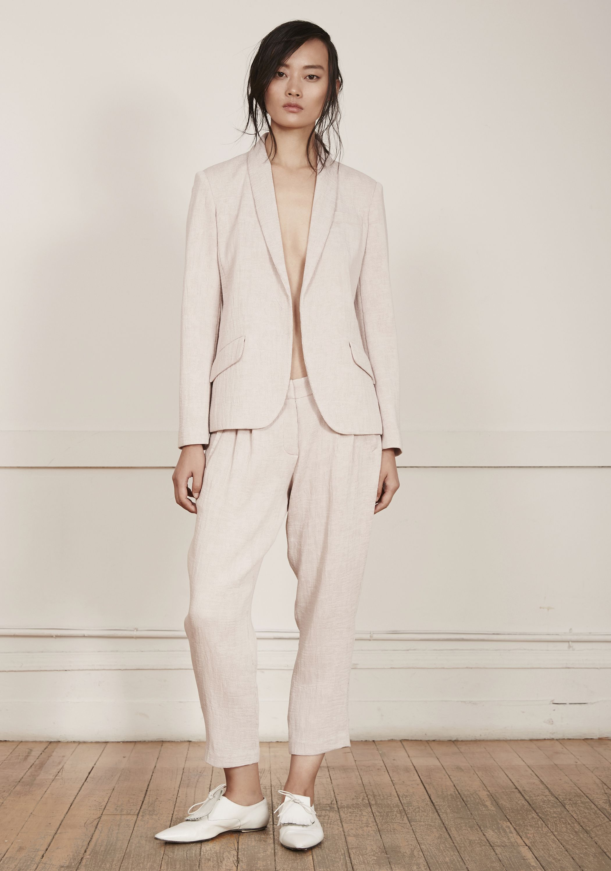 Neal Sperling SP 15 pink plisse shawl collar jacket, pink plisse cropped tapered trouser