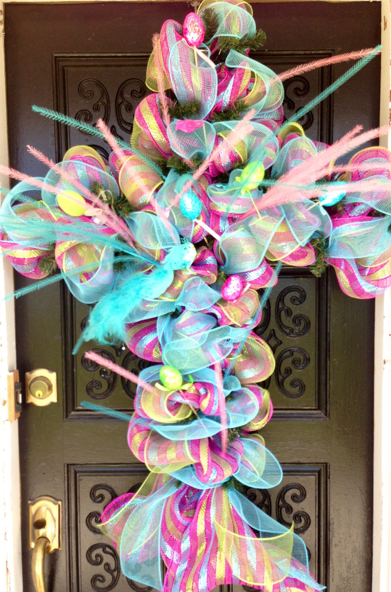 Easter cross wreath with images whimsical wreaths