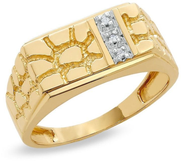 Zales Men S Diamond Accent Rectangle Nugget Ring In 10k Gold Gold Nugget Ring Yellow Gold Round Diamond Rings For Men