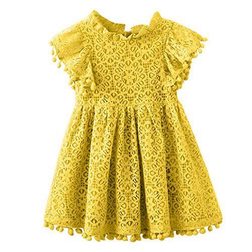 Kids Girl Hollow Lace Dress pom pom Short Sleeve Princess Frilled Waist Dress