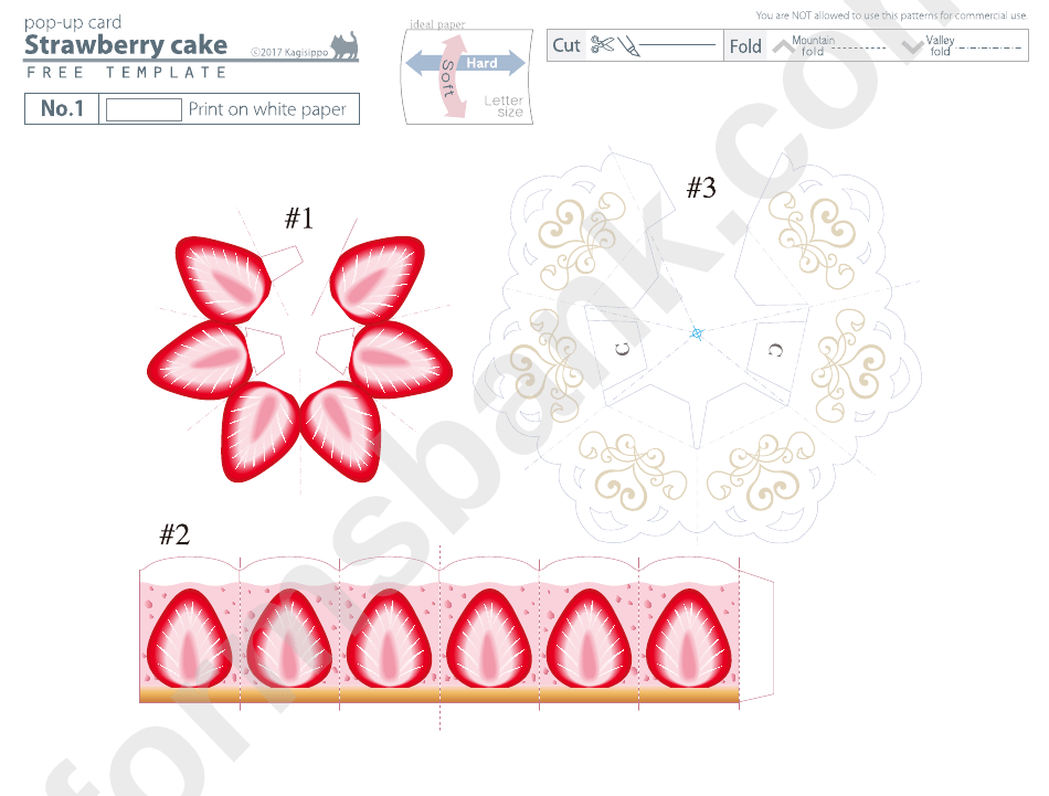 Strawberry Cake Pop Up Card Template Printable Pdf Download Pop Up Card Templates Card Templates Printable Templates Printable Free