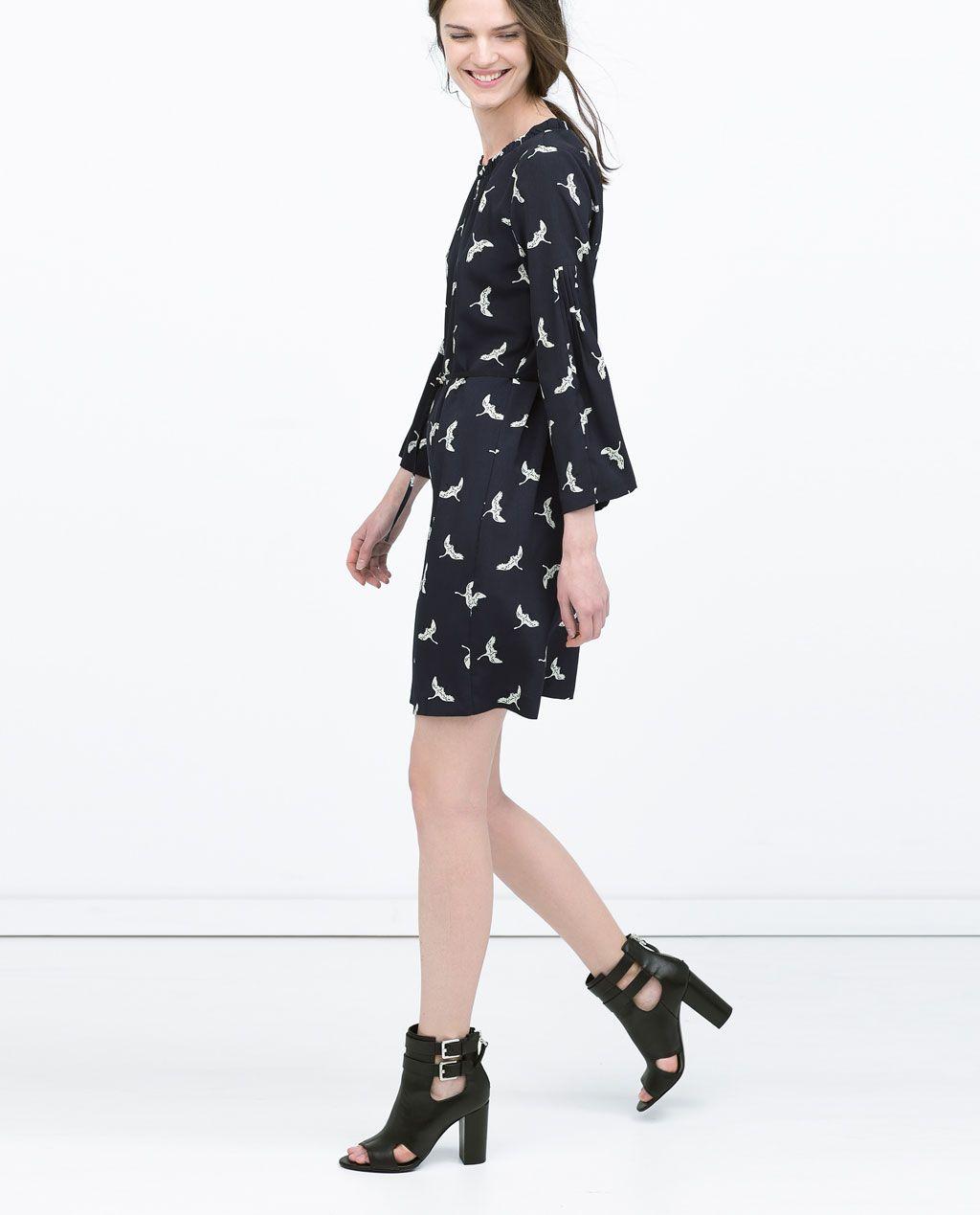 fd610000 CRANE PRINTED DRESS in navy blue from Zara | Dream Closet | Dresses ...
