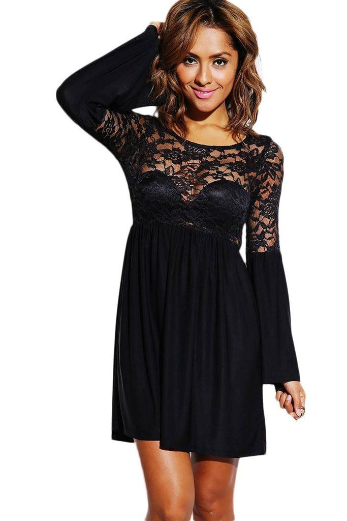 Robes Patineuses Pas Cher -- Patineuses Robes Noir Lace Sheer De Bell Sleeve Robe Retro Party – Modebuy.com