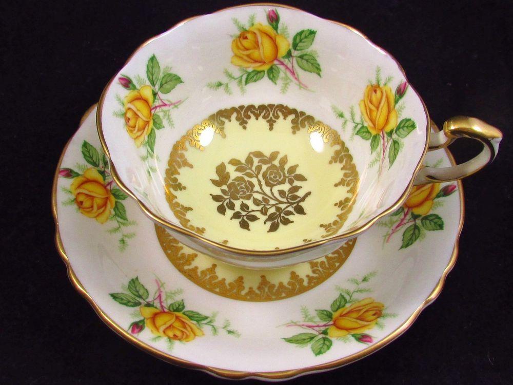 PARAGON YELLOW ROSES PINK ROSEBUDS GOLD TEA CUP AND SAUCER