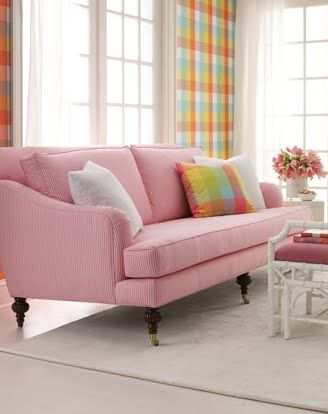 lovely couch - how cool for the girls to have a PINK couch!!! | home ...