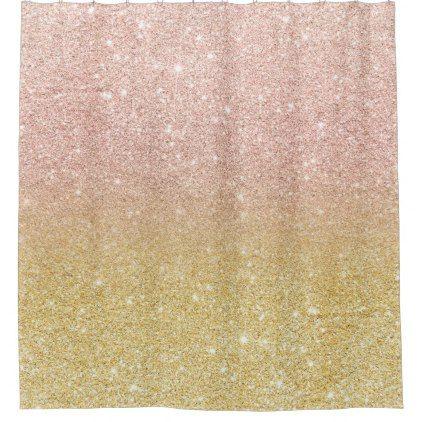 Modern Rose Gold Glitter Ombre Shower Curtain