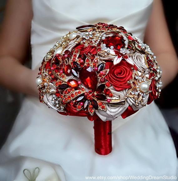 Brooch Bouquet Red Beige Wedding Jewelry Bridal Bouquet Wedding