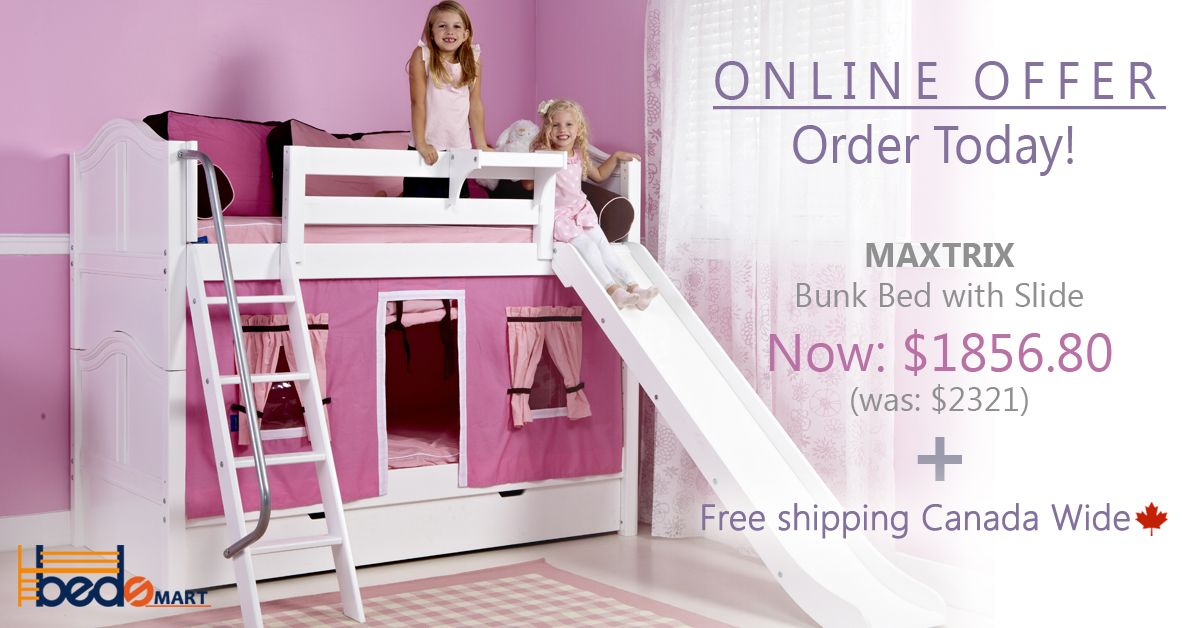 Best Maxtrix Twin Over Twin Bunk Bed With Slide See All Your Options At Www Bedsmart Ca Free 400 x 300