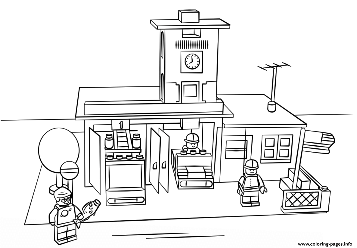 Print lego fire station city coloring pages Lego