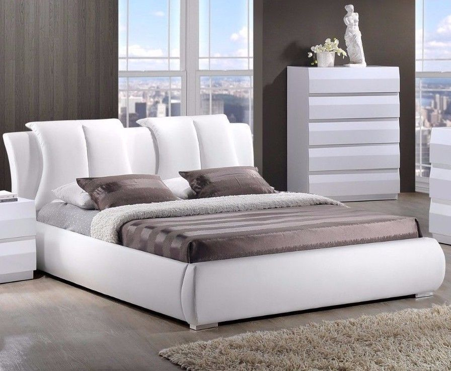 Queen Platform Bed Frame Headboard White Modern Leather