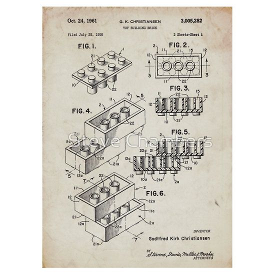 Lego Toy Blocks US Patent Art