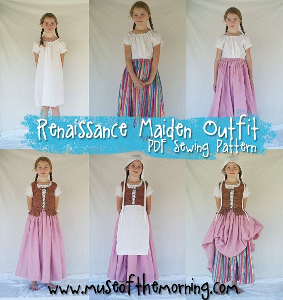 Pdf sewing pattern complete renaissance maiden dress girls age 4 easy renaissance costume solutioingenieria Gallery