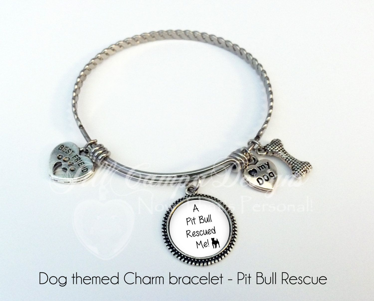 Pit Bull Bracelet, Pit Bull Rescue, Dog Bangle Bracelet, Dog Charm ...