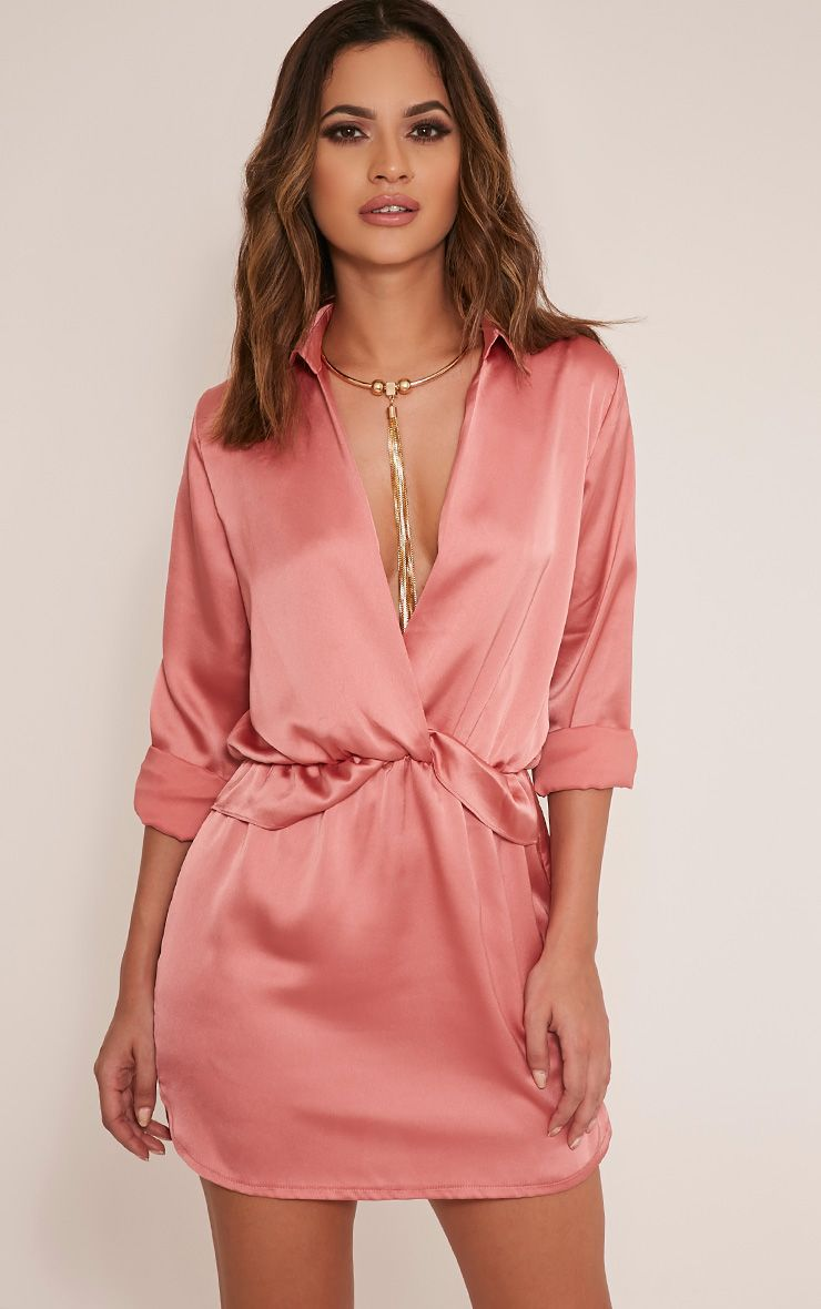 Katalea Red Twist Front Silky Shirt Dress Pretty Little Thing 8gIMLQX7