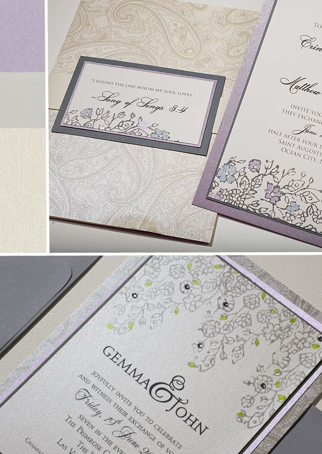Inspirations - Lavender and Silver Vintage Lacy Wedding Invitations ...
