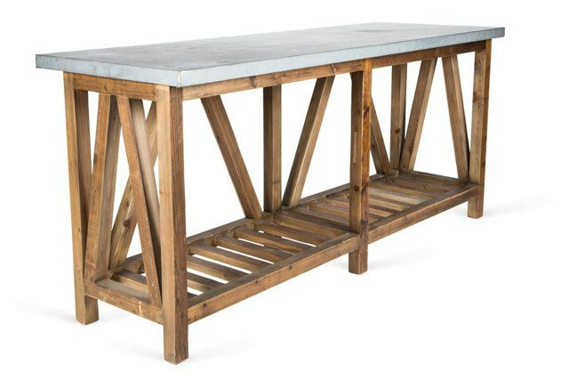 Zinc Top Console Table Table Reclaimed Wood Furniture Console