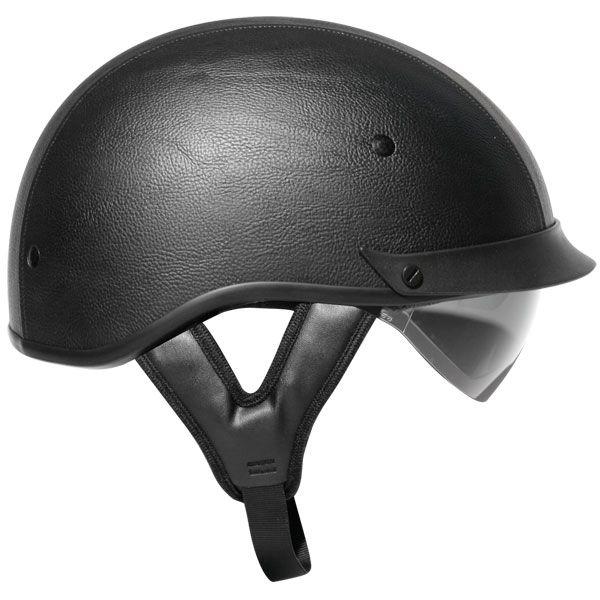 Black Leather Dual Visor Motorcycle Half Helmet Is Wrapped