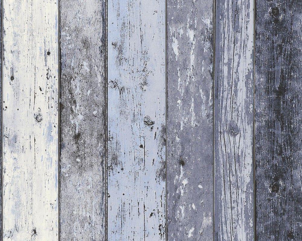 Vinyl Steigerhout Look : Steigerhout vliesbehang blauw grijs huis blue grey