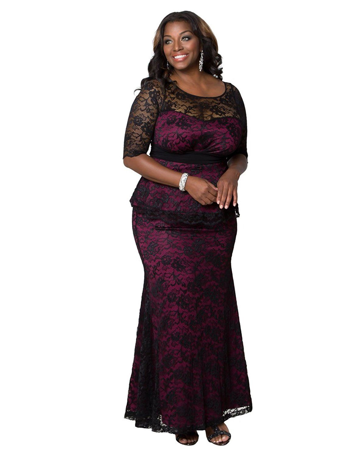 5d167f31726 Kiyonna Women s Plus Size Astoria Lace Peplum Gown   Tried it! Love it!  Click the image.   Women s dresses
