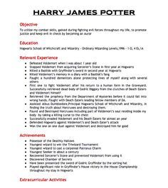 Harry Potter's Resume. Considering he did all of this in only seven years, I