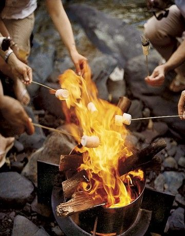 hot dog roast on river and smores....all summer long