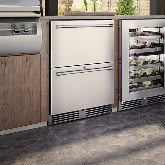 Perlick Signature Series Dual Zone Outdoor Freezer Refrigerator Outdoorliving Outdoorkitchen App Refrigerator Drawers Undercounter Freezer Pull Out Drawers