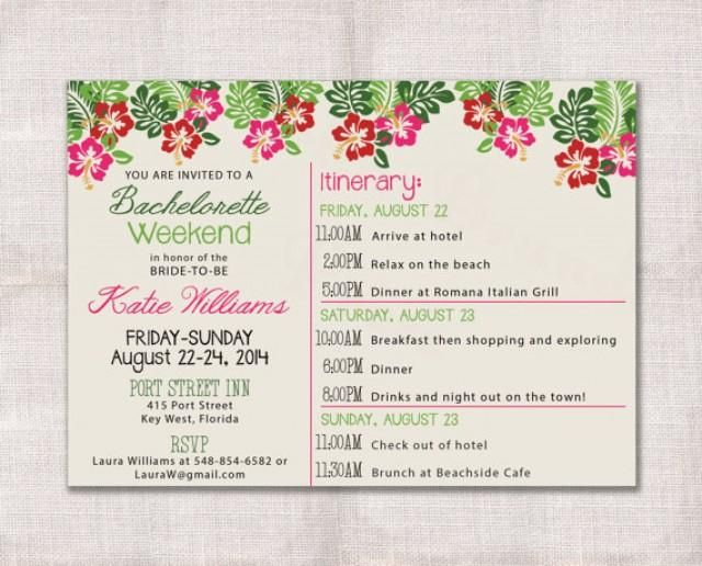 This Fun Invitation Itinerary Features A Tropical Look Complete