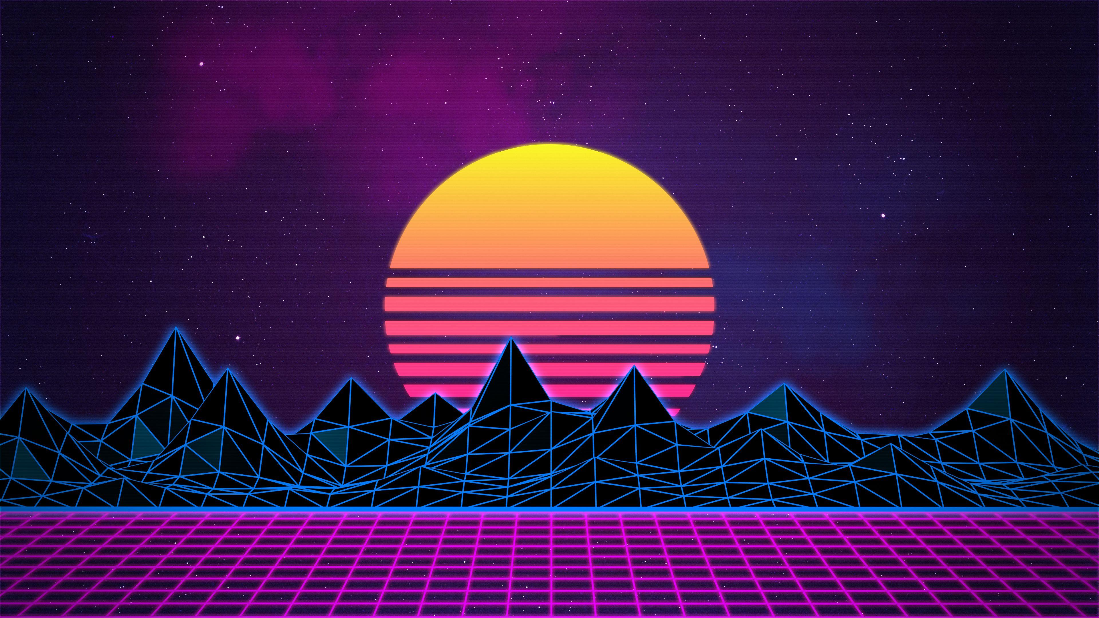 Retro sunrise on grid landscape. Colors on point ...