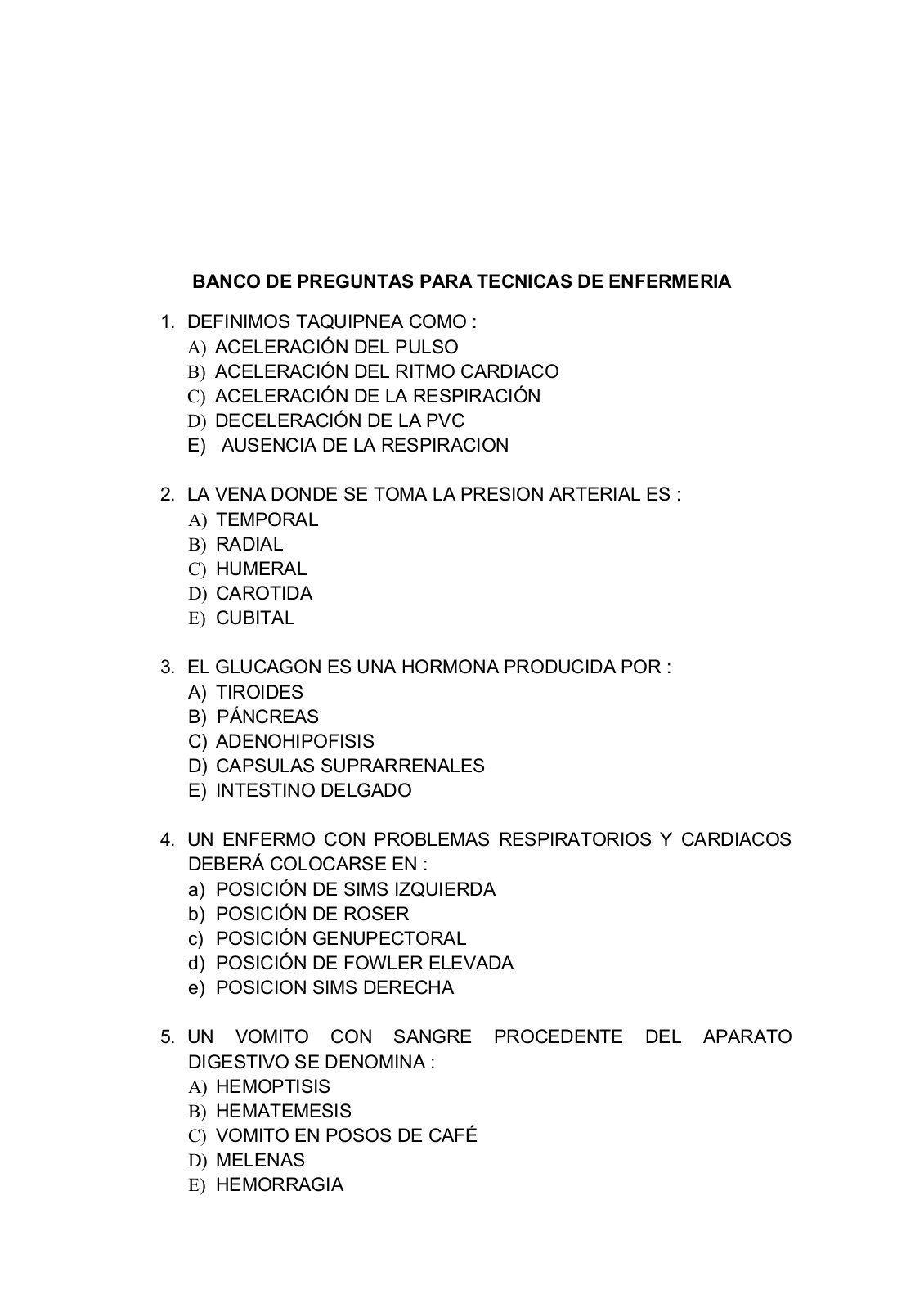 Balotario De Preguntas Para Tecnicos De Enfermeria Yumpu Pdf Downloader Ten Personalized Items