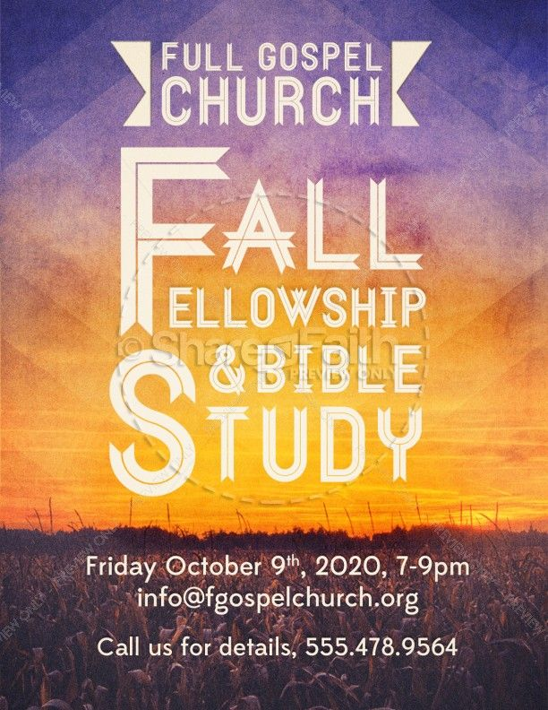 Fall Fellowship And Bible Study Church Flyer  Churches Bible And