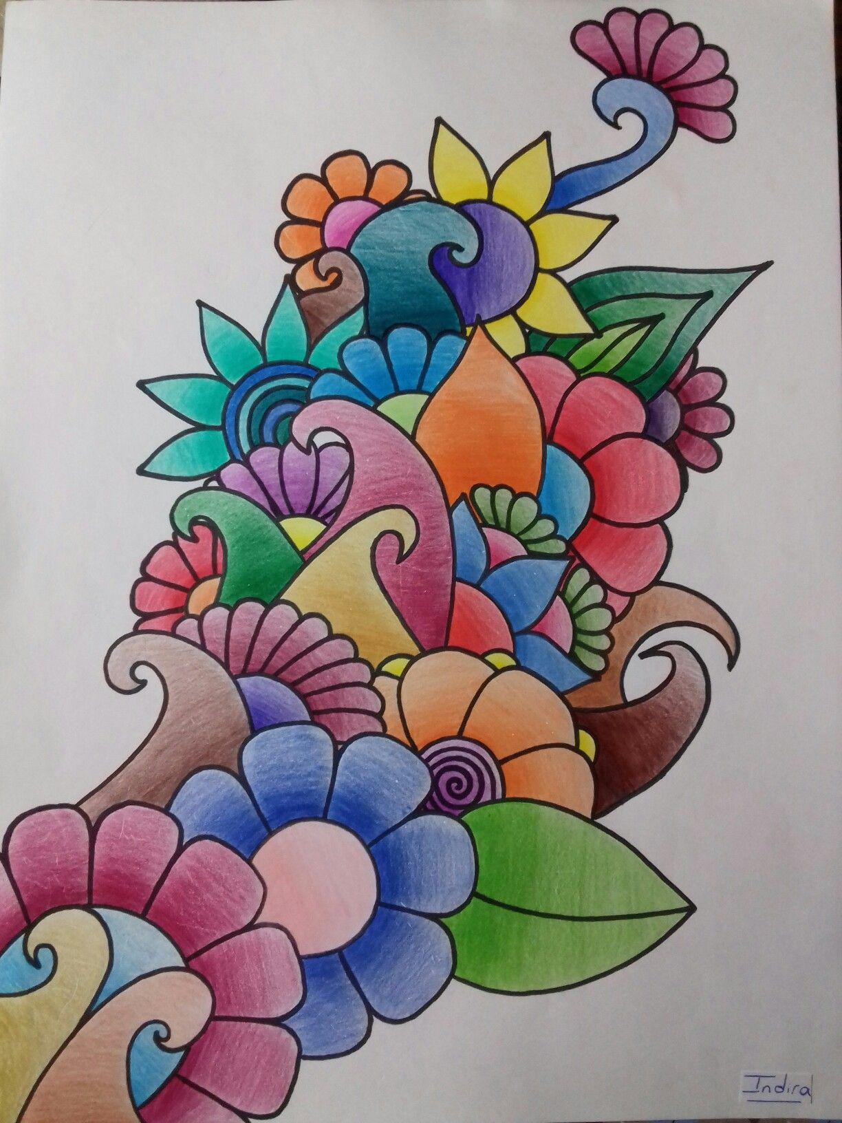 Is Indira Mandala Zentangle Art Dibujo Arte Garabatos