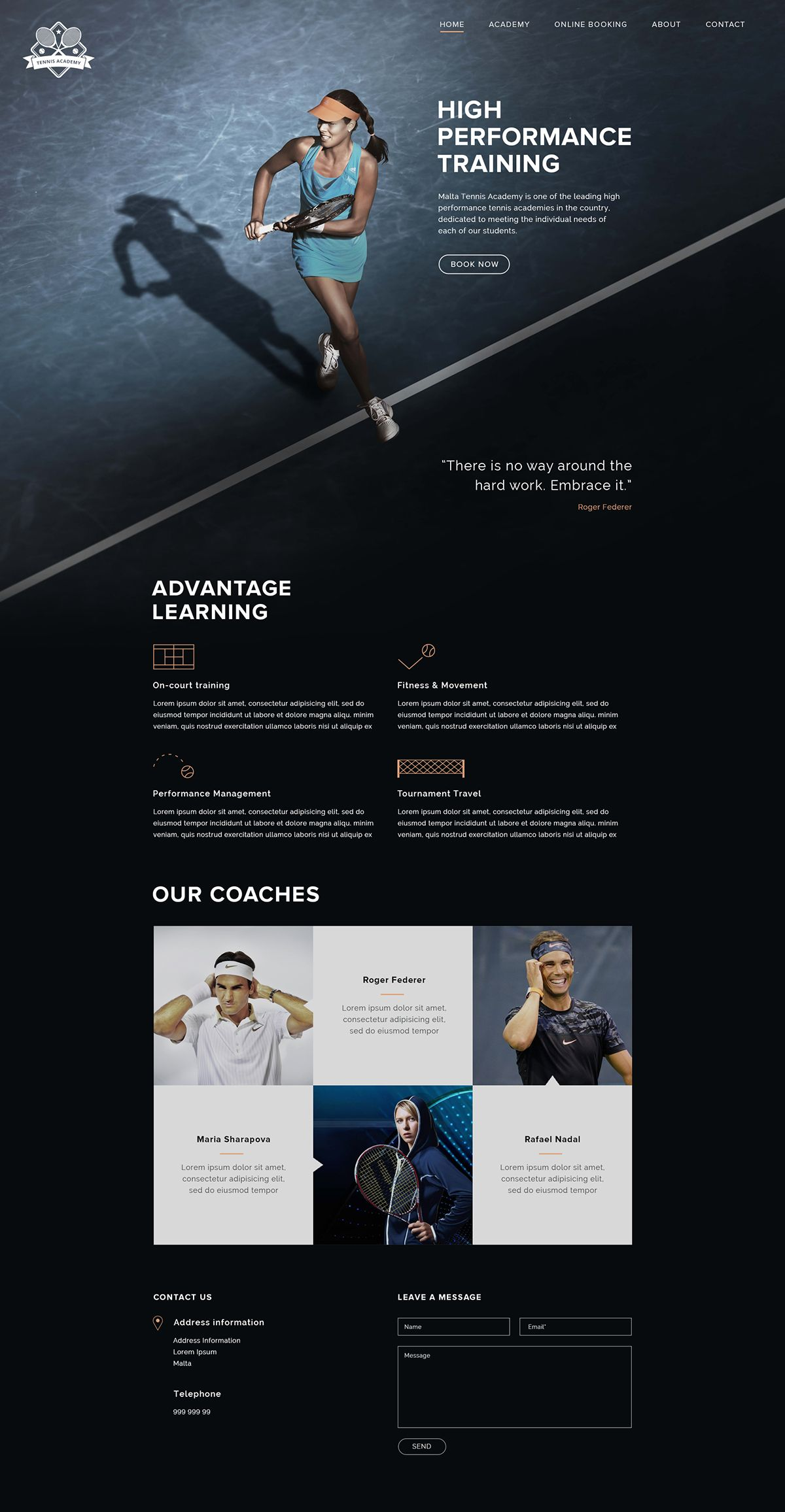 Tennis Academy Web Design Student Project Web Design Wordpress Website Design Webpage Design