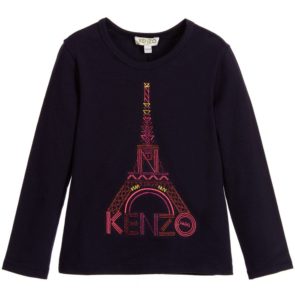 2bf03f35b Kenzo Girls Blue Cotton Top with Pink Eiffel Tower | kenzo | Shirts ...