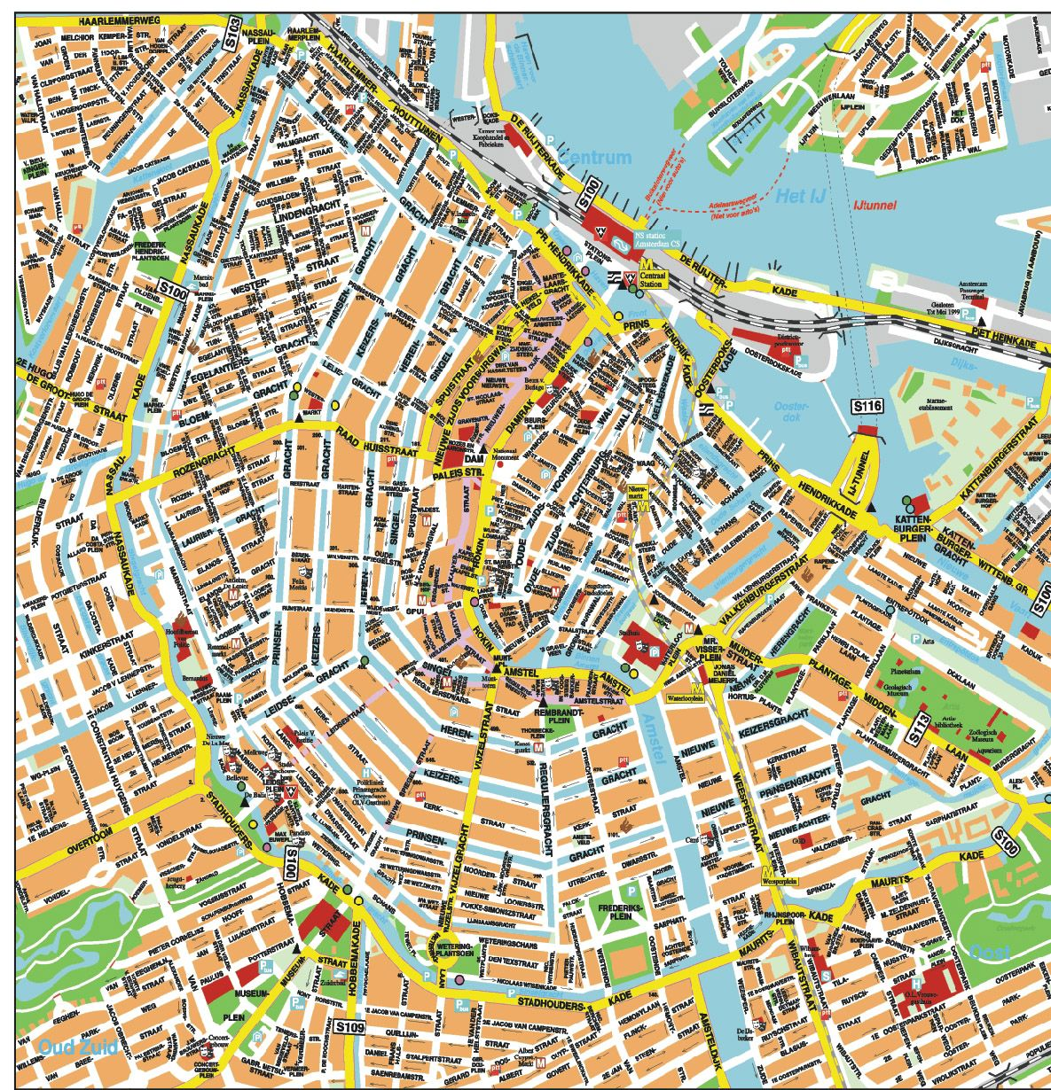 Printable Amsterdam City Map Amsterdammapwithattractions